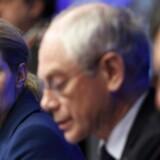Statsminister Helle Thorning-Schmidt, formand for Det Europæiske Råd Herman Van Rompuy og formand for EU-kommissionen, Jose Manuel Barrosso, holder pressemøde forud for EU-topmødet.