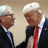 Arkivfoto fra G-20 mødet i Hamburg, den 8. juli, 2017. Det handler om at bremse handelskrigen mellem EU og USA, når Juncker besøger Trump i Det Hvide Hus. Men forventningerne til mødet er på forhånd ikke høje. (Foto: Markus Schreiber/Ritzau Scanpix)