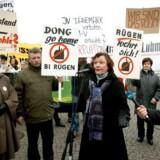 Demonstranter i Greifswald protesterer imod et planlagt kulkraftværk fra DONG Energy. Foto: Christian T. Jørgensen