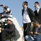 Lokale tilskuere og verdenspressen følger sammen begivenhederne i Gaza på en lille bakketop nær grænsen.