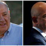 Jeff Bezos er ikke længere verdens næstrigeste. Pladsen overtages i stedet af spansk rigmand, Amancio Ortega (til venstre), og det skyldes først og fremmest værdistigningerne på europæiske aktier efter Emmanuel Macrons valgsejr i den første runde af det franske præsidentvalg. Arkivfotos: Scanpix