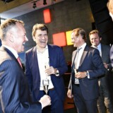 Administrerende direktør og medstifter af Netcompany André Rogaczewski (midten) var en yderst tilfreds topchef, da Netcompany blev børsnoteret torsdag ved et arrangement i DR Byen. Foto: Philip Davali/Ritzau Scanpix