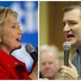 Den stærkt religiøse republikanske præsidentkandidat Ted Cruz vil rydde op i Washington, sætte magthaverne på plads, fyre bureaukraterne og sørge for, at USA genfinder Gud. Derimod er det ikke Gud, der er fremherskende, når Hillary Clinton fremlægger Demokraternes politik. Det er sygesikring og job. Lighed på arbejdsmarkedet, højere mindsteløn og kvinders rettigheder.