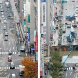 This combo shows a photo of a giant sinkhole (R), measuring around 30 metres (98 feet) wide and 15 metres deep, which appeared in a five-lane street in the middle of the Japanese city of Fukuoka on November 8, 2016 and another photo (L) of the same section of road after repairs were made on November 15. The Japanese city on November 15 reopened the busy street that collapsed into a giant sinkhole, with efforts of crews who worked round the clock for a week drawing raves on social media. / AFP PHOTO / JIJI PRESS / JIJI PRESS / Japan OUT