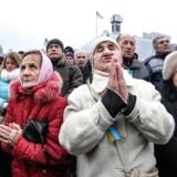 En af årets flere demonstrationer i Kiev. I februar krævede demonstranter Petro Porosjenkos regerings afgang.