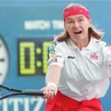Jana Novotna of the Czech Republic chases down a return to Sandrine Testud of France 02 September at the US Open. Novotna won the match 6-4, 7-5. AFP PHOTO