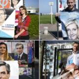 Der er næsten dødt løb mellem de fire præsidentkandidater i det franske præsidentvalg, hvis første runde afholdes på søndag. Her ses (fra øverste venstre hjørne og med uret rundt) tilhængere af venstrefløjs-kandidaten Jean-Luc Melenchon, af højrefløjspartiets Front Nationals Marine Le Pen, af konsrvative Francoi Fillon og En Marche!-bevægelsens Emmanuel Macron.