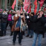 Demonstration om overenskomstforhandlinger foran Kl i København torsdag den 22. februar 2018. 28. februar er fristen for ny statslig overenskomst. Fredag brød forhandlingerne sammen. Det skriver Ritzau, fredag den 23. februar 2018. (Foto: Liselotte Sabroe/Scanpix 2018)