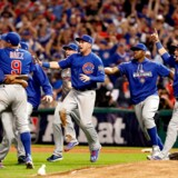 CLEVELAND, OH - NOVEMBER 02: The Chicago Cubs celebrate after defeating the Cleveland Indians 8-7 in Game Seven of the 2016 World Series at Progressive Field on November 2, 2016 in Cleveland, Ohio. The Cubs win their first World Series in 108 years. Elsa/Getty Images/AFP == FOR NEWSPAPERS, INTERNET, TELCOS & TELEVISION USE ONLY ==