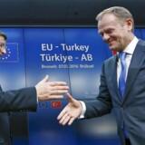 Den tyrkiske premierminister Ahmet Davutoglu (tv) giver hånd til EU-præsident Donald Tusk efter konferencen