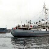 Det russiske krigsskib Liman er sunket, efter det kolliderede med et transportskib ud for Istanbul. Alle 78 besætningsmedlemmer er reddet. Dette arkivfoto viser skibet i 1999.
