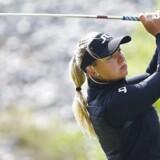 Emily Kristine Pedersen lå på en femteplads i KPMG Women's PGA Championship, da hun blev afbrudt af uvejr.