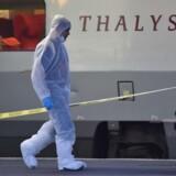 Politiet i Belgien har anholdt fire personer i forbindelse med efterforskningen af et angreb i højhastighedstoget Thalys i 2015.. / AFP PHOTO / PHILIPPE HUGUEN