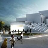 Computergengivelse af den nye Lego House i Billund tegnet af Bjarke Ingelse. Oplevelseshuset åbner 29. sept,ber 2017.