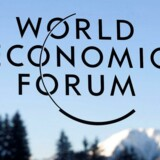 A sign and logo of the World Economic Forum is seen on the third day of the Forum's annual meeting, on January 19, 2017 in Davos. British Prime Minister Theresa May addresses the World Economic Forum in Davos just two days after unveiling her blueprint for the country's departure from the European Union / AFP PHOTO / FABRICE COFFRINI