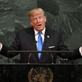 Trump: Vi vil ødelægge Nordkorea hvis vi bliver truet. / AFP PHOTO / TIMOTHY A. CLARY