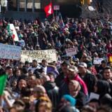 Der var store protester mod Trumps immigrationspolitik den 13. februar i Milwaukee. Torsdag d 16. iværksætter aktivister »en dag uden immigranter« for at vise, hvor stor en del af samfundet de udgør. Darren Hauck/Getty Images/AFP