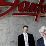 Legos nye topchef Niels B. Christiansen (bagest) inden han i 2008 afløste Jørgen Mads Clausen (th) som administrerende direktør i Danfoss