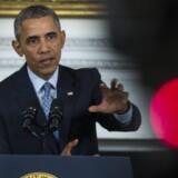 Den amerikanske præsident, Barack Obama, taler ved en pressekonference om den russiske præsident Putins indtog i Syrien. Mens amerikanerne diskuterer USAs fremtid på verdensscenen, er mange generelt tilhængere af Obamas realistiske tilgang til udenrigspolitikken.