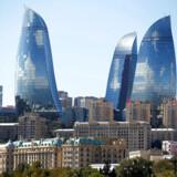 Et omfattende læk af data til Berlingske afslører, hvordan regimet i Aserbajdsjan sendt milliarder gennem Danske Bank. Her ses skyline i Aserbajdsjans hovedstad Baku.