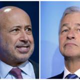 Topcheferne i JPMorgan Chase og Goldman Sachs, henholdsvis Jamie Dimon og Lloyd Blankfein, har i 2016 kunne se en stigning på sammenlagt 314 mio. dollar (2 mia. kr.) i deres aktieporteføljer.Foto: Stephen Chernin (TH) og Eric Piermont