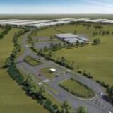 Denne tegning illustrerer, hvordan Apples kommende datacenter i Viborg vil ligge klos op ad en af Danmarks største transformatorstationer. Foto: Apple