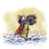 Illustration fra bogen »Skovpigen Skærv«, tegnet af Peter Bay Aleksandersen.