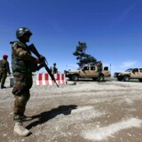 epa05926425 Afghan army soldiers stand guard during a rally to condemn recent attack in Balkh, in Herat, Afghanistan, 25 April 2017. Militants attacked a military base in Balkh killing 140 Afghan soldiers on 21 April 2017. The attack, perpetrated by as many as 10 fighters, occurred as the soldiers were leaving a mosque after Friday prayers and eating dinner at the base's canteen. EPA/JALIL REZAYEE