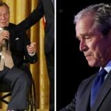 Bush senior (til venstre) kritiserer Bush junior i hårde vendinger.