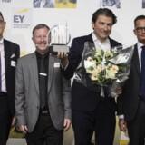 Vinderen af EY Entrepreneur Of The Year i Region København blev IT-firmaet, Netcompany. Fra venstre ses: Martin Bøge Mikkelsen, medlem af den regionale jury for EY Entrepreneur Of The Year, Poul Henning Nørh, erhvervscenterdirektør i Jyske Bank, André Rogaczewski, adm. direktør, Netcompany, og Jan C. Olsen, partner i EY og regionsansvarlig for EY Entrepreneur Of The Year