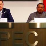 Russisk energiminister Alexander Novak og Opecs generalsekretær, Mohammed Barkindo.