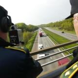 Arkivfoto af politiets fartkontrol - her ved motorvejen til Vejle.