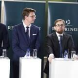 Kristian Jensen, Karsten Lauritzen, Simon Emil Ammitzbøll og Brian Mikkelsen præsenterer regeringens skatteudspil, Jobreformens fase II, i Rentekammeret i Finansministeriet, tirsdag den 29. august. (Foto: Mads Claus Rasmussen/Scanpix 2017)