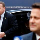 Lars Løkke ankommer til topmøde i Bruxelles.