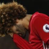Marouane Fellaini begik et sent straffe, som betød, at United satte en føring over styr ude mod Everton i Premier League. Reuters/Andrew Yates