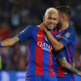 Neymar scorede direkte på frispark og lagde op til fire mål mod Celtic. Reuters/Paul Hanna