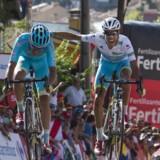 Luis León Sanchez (tv) kæmpede for succes på 7. etape i Vuelta a Espana. (Arkivfoto). Scanpix/Jaime Reina