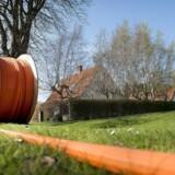 Det går trægt med at skaffe danskerne mulighed for endnu hurtigere internetforbindelser. Blandt andet er det dyrt at grave kabler ned, sådan som Fibia her er i færd med tæt på Præstø på Sydsjælland. Arkivfoto: Nils Meilvang, Scanpix