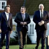 Statsminister Lars Løkke Rasmussen (V) præsenterede sammen med LA-leder Anders Samuelsen og de Konservatives formand, Søren Pape Poulsen, søndag et fælles, nyt regeringsgrundlag på Marienborg.