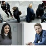 Øverst: Elever på Copenhagen Business School CBS fotograferet fredag den 27. marts 2015. Venstre: Lisbeth Rhodes. Højre: Michael Steen Hansen.