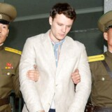 Otto Warmbier efter sin arrestation i Nordkorea.