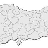 Markeret med rødt er Sirnak-provinsen i Tyrkiet, hvor ulykken fandt sted.