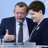 Polens premierminister Beata Szydlo sammen med statsminister Lars Løkke Rasmussen under deres fælles pressemøde mandag.