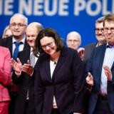 De tyske socialdemokrater har på en ekstraordinær samling i partiet valgt Andrea Nahles som SPD's første kvindelige formand. Det skrev det tyske nyhedsbureau dpa søndag. EPA/CLEMENS BILAN