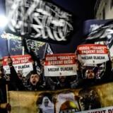 Protestdemonstrationerne mod Trump breder sig i den arabiske verden. / AFP PHOTO / YASIN AKGUL