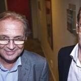 Per Bjerregaard (tv) og Ole Palmå fotograferet dengang de to tegnede Brøndbys ledelse ud ad til. Per Bjerregard, der har været alvorligt syg af leukæmi, er kommet sig fuldstændig og optrådte i god form i retten torsdag.