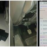 Den lille sorte dims er en overdimensioneret tændstiksæske indeholdende SIM-kort til mobilnettet (til venstre). Den sættes i det særlige stik i bilen (i midten), som biler helt tilbage fra 2001 er udstyret med, og laver så et kørende, trådløst net i bilen, samtidig med at den samler data sammen om bilen og kørslen. Fra mobilappen (til højre) kan man så følge med og blive klogere på sin kørsel samt vælge, hvilke tjenester man ønsker at købe og bruge. Foto: Thomas Breinstrup