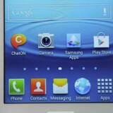 Mobilstyresystemet Android, som sydkoreanske Samsung er den største producent af telefoner med, indbringer Google milliarder af kroner. Arkivfoto: Josep Lago, AFP/Scanpix