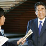 Japanese Prime Minister Shinzo Abe speaks to reporters after having a telephone call with U.S. President Donald Trump at his official residence in Tokyo, Japan in this photo taken by Kyodo on August 15, 2017. Mandatory credit Kyodo/via REUTERS ATTENTION EDITORS - THIS IMAGE WAS PROVIDED BY A THIRD PARTY. MANDATORY CREDIT. JAPAN OUT.NO COMMERCIAL OR EDITORIAL SALES IN JAPAN.