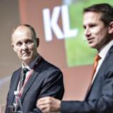 Finansminister Kristian Jensen (V) og KL's formand Martin Damm (V) debatterer her ved Kommunaløkonomisk Forum 2018 i Aalborg Kongres og Kulturcenter, torsdag d. 11. januar 2018.